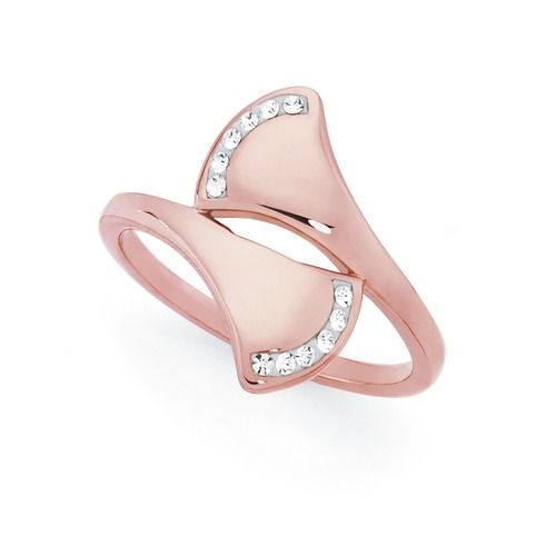 Stainless Steel Rose Plate Crystal Fan Ring