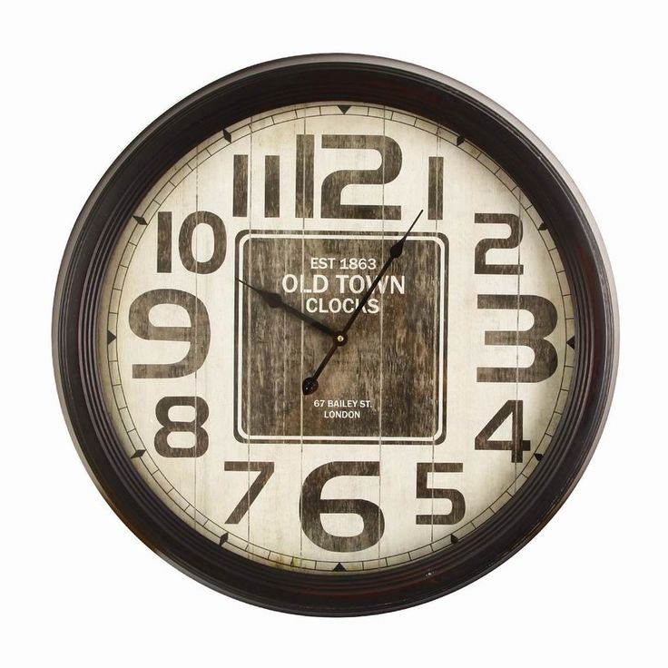 "Oversized 24.4"" Retro Round Distressed Wood Detail ""Old Town Clocks"" Wall Hanging Clock"