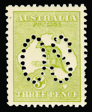 """Australia OA5 (O5) 1913 3d olive Kangaroo Official with perfin """"OS"""" SG Type O1 (large), wmkd Crown over A, perf 12, very well centered"""