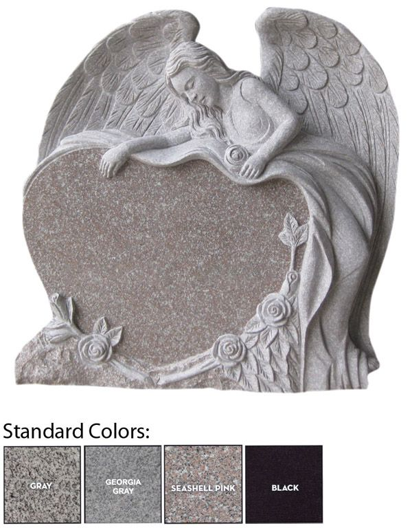 Angel Tombstones | home headstones and monuments angel heart with flowers headstone