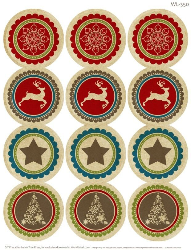 A Rustic Christmas Printable Label Set | Worldlabel Blog would be really cute on the tops of mason jars