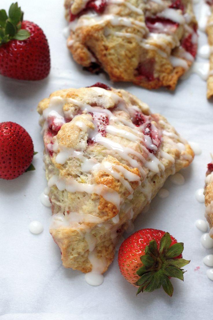 fresh strawberry scones with lemon glaze buns scones bread scones ...