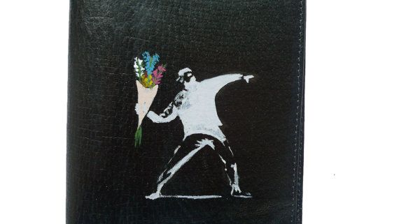 Black leather passport wallet - large - Banksy - hand painted - flowers and rebel - graffiti theme - passport cards coinsnotes by ArtyBeezzz