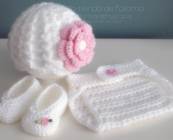 Crochet baby set of hat,  booties and diaper cover - Crochet gift set - Baby Photo Prop - Newborn Photo Prop - Made to order. $40.00, via Etsy.