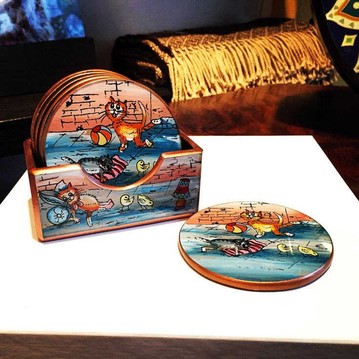 """""""Kitty Coasters"""" - Reverse paint on glass and Cedar wood - by A.Alejandro - (Set of 6) - $39"""