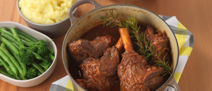 Slow Cooked Lamb Shanks in Red Wine recipe from Food in a Minute