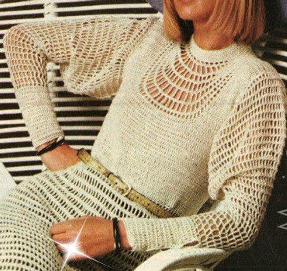 CROCHET DRESS PATTERN Crochet Wedding Dress Pattern Crochet Maxi Dress Vintage 70s Instant Download
