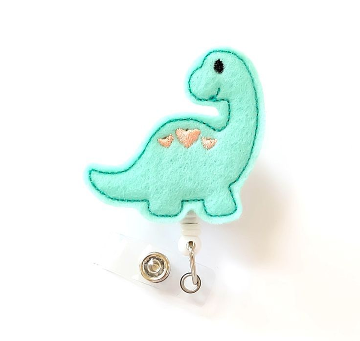 Dinosaur - Felt Badge Holder - Cute Badge Reels - Retractable ID Badge Clips - Pediatric Nurse Badge Pulls - Nurse Gifts - BadgeBlooms by BadgeBlooms on Etsy https://www.etsy.com/listing/230315559/dinosaur-felt-badge-holder-cute-badge