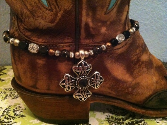 Boot Bling Jewelry/Boot Candy/Boot Anklet Cross Pendant Super Cute. $20.00, via Etsy.
