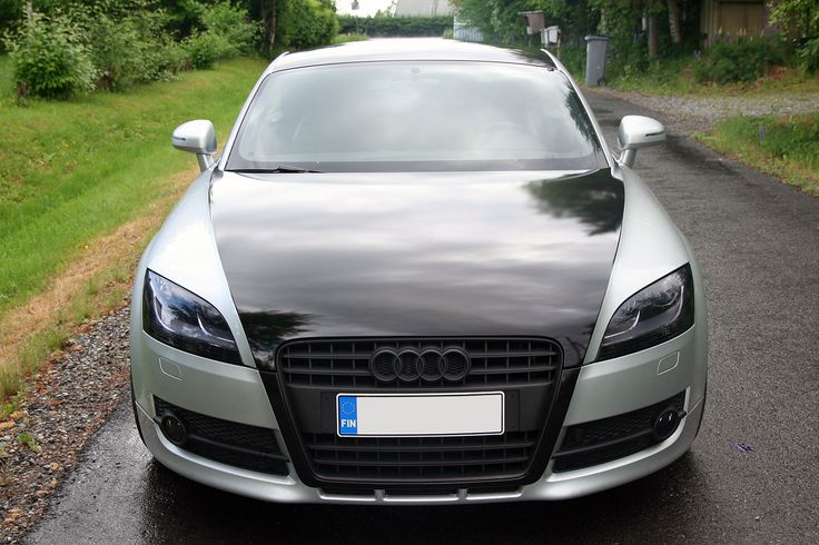 Audi TT with black wrapped hood and roof + Lamin-X tinted headlights. #Audi #Laminx