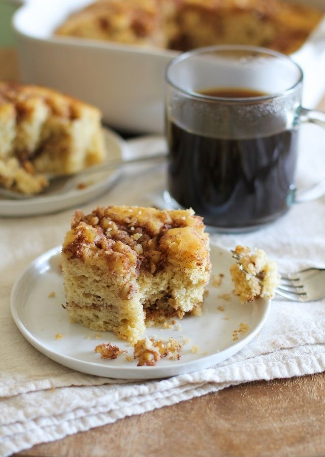 This grain-free, refined sugar-free coffee cake is a healthier alternative to classic coffee cake, and is great for breakfast or brunch. Fluffy, nutty, sweet, cinnamon-y coffee cake. Le sigh...noth...