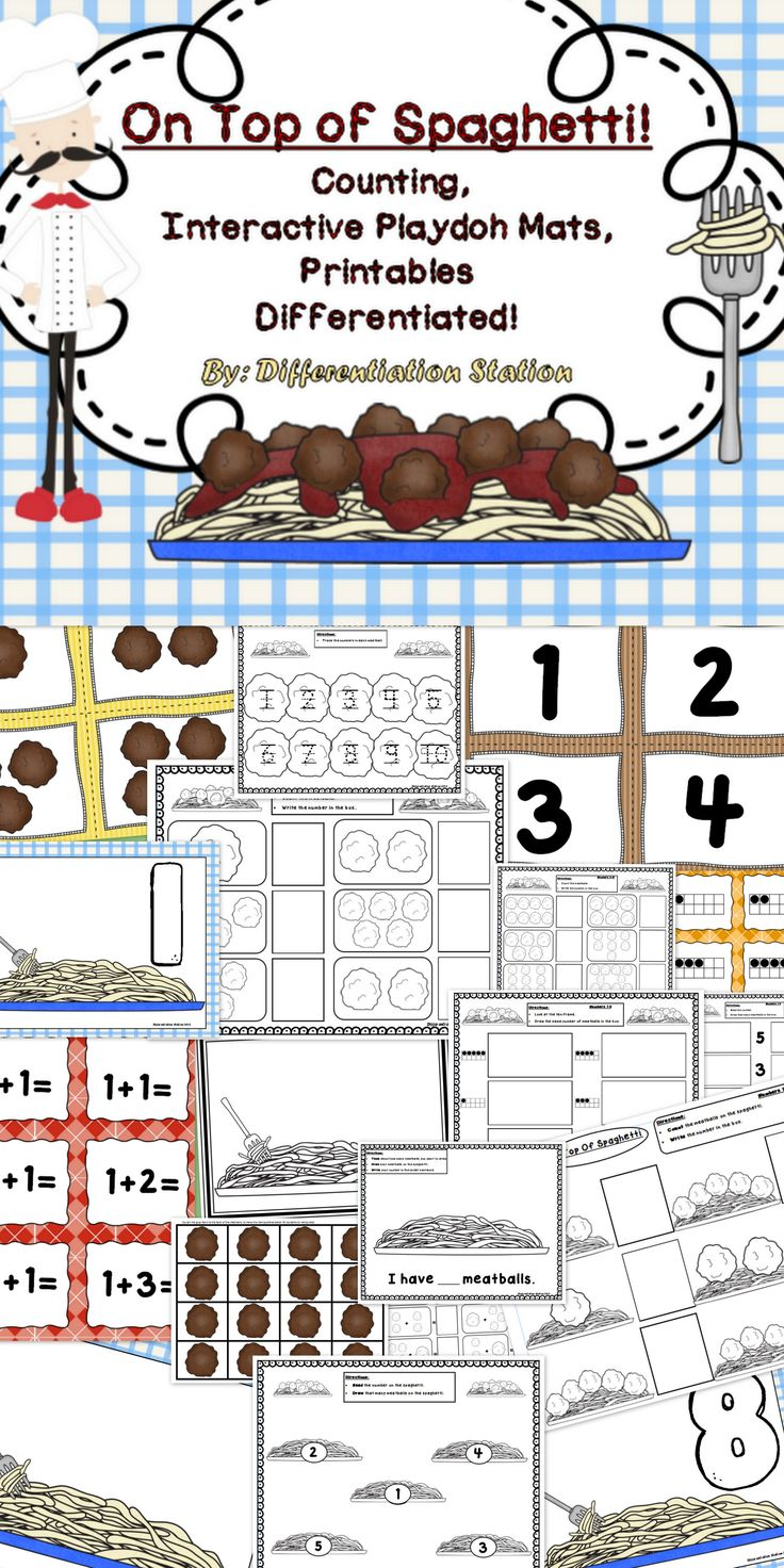This set of spaghetti and meatballs / food themed centers, games and printables is designed to help students master counting and number identification. It is appropriate for preschool, kindergarten, homeschool, and special education instruction.