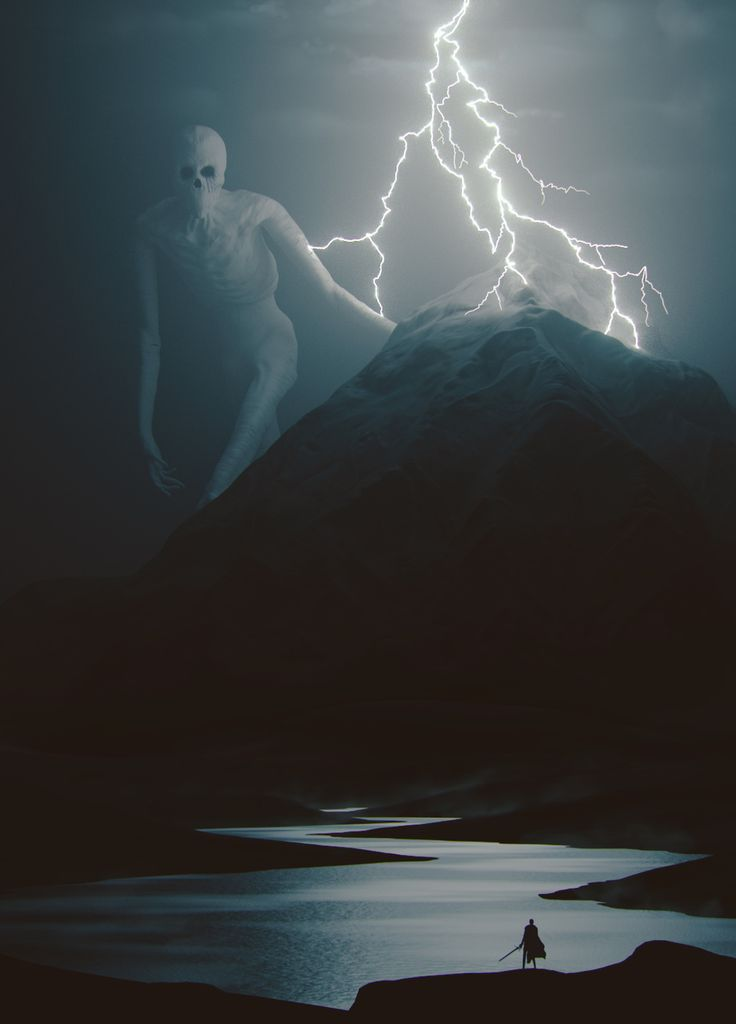 The Old God of the Northern Mountains [some say theyve seen a giant so large his head reaches the sky and his face immitates death. He IS the elfin god of death, or loki
