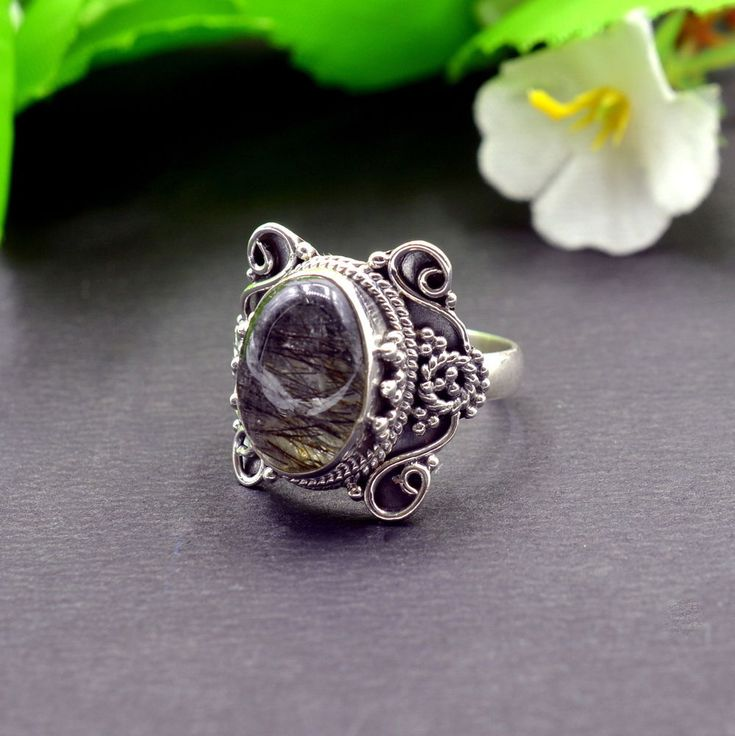 925 Solid Sterling Silver Black Rutile Gemstone Mens Ring Size 7.25 US R693 #Handmade #Cluster #Party