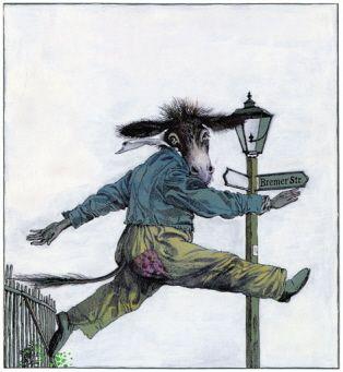 """Klaus Ensikat illustration for """"The Bremen Town Musicians""""."""