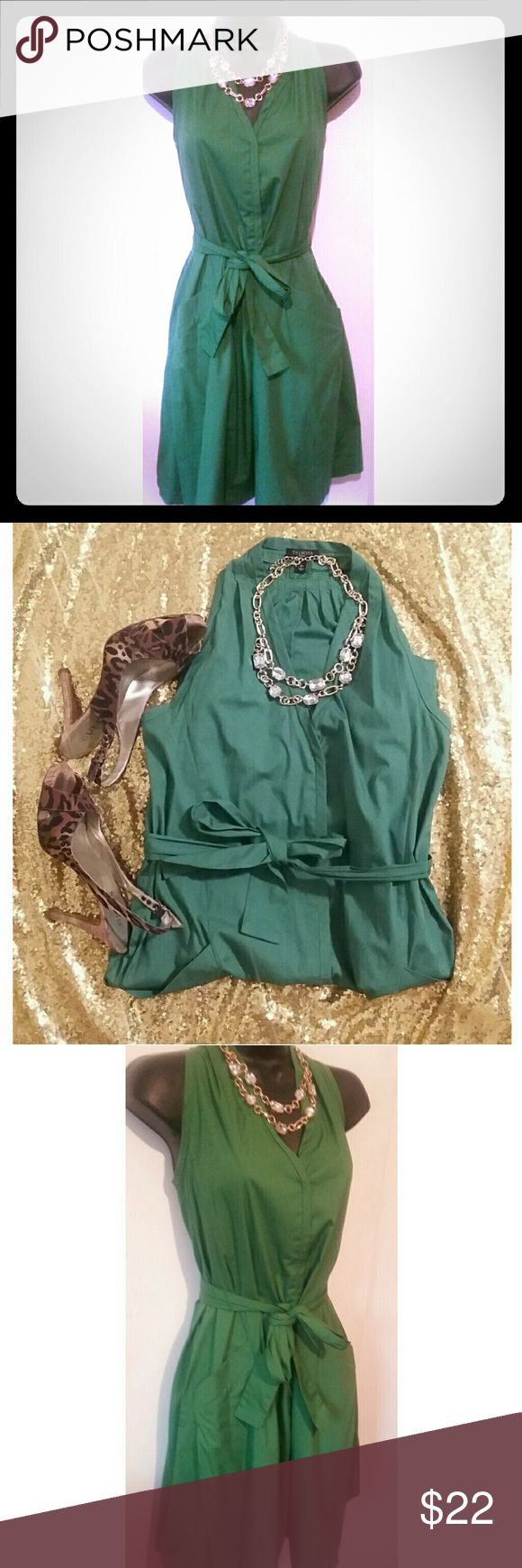 Green Talbots Petite Dress In Size 2P Green Talbots A-Line  Petite Dress In Size 2. The Dress Is Cotton Material, has a removable belt. It also has pockets. In excellent condition. Talbots Dresses Midi