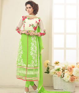 Buy Green Faux Georgette Straight Cut Suit 76085 online at lowest price from huge collection of salwar kameez at Indianclothstore.com.