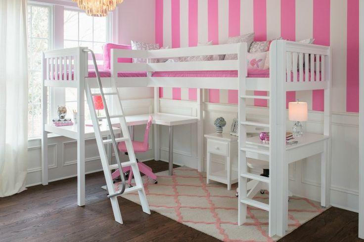 Two Desks Under A White Corner Loft Bed By Maxtrix Kids