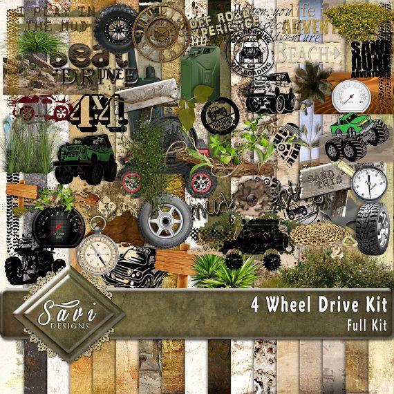 Digital Scrapbooking Kit 4 WHEEL DRIVE mud sand by SaviByDesign