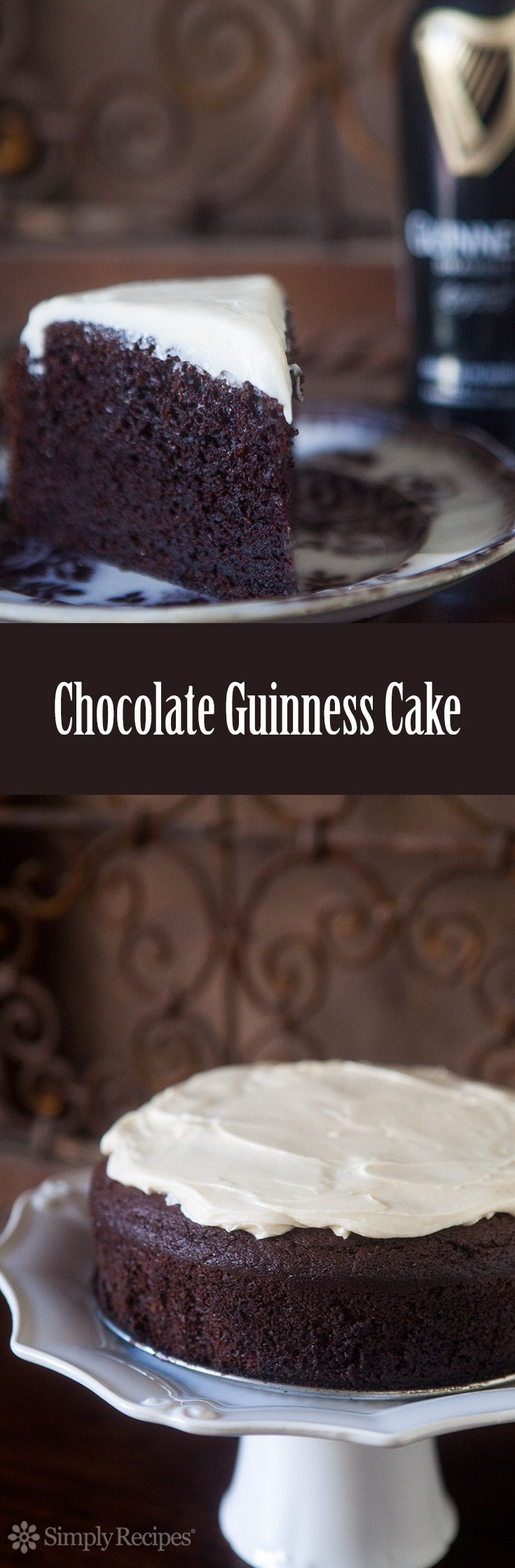 Chocolate Guinness Cake - Rich, moist, chocolate cake spiked with stout beer. Malty, sweet, and perfect for a St. Patrick's day party.