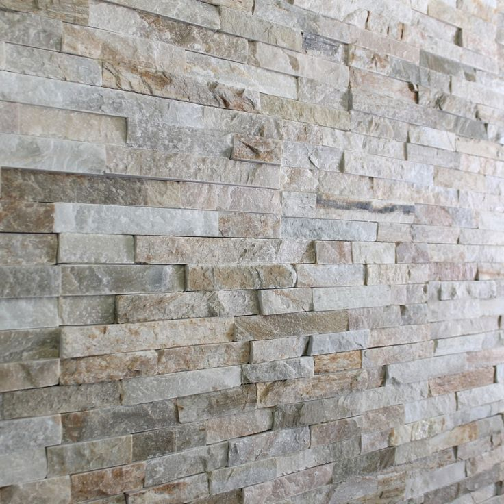 Oyster Mini Split Face 15x60 wall tile. An interlocking natural stone tile of oyster slate with a matt finish and riven texture.