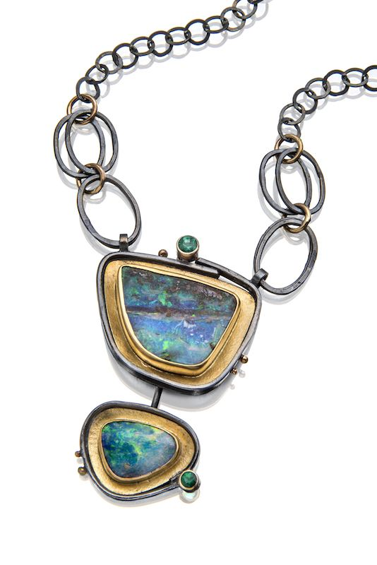 Spectrum opal necklace | Sydney Lynch | Boulder opals, emeralds, oxidized silver, 18k & 22k gold. Pendant is 1 3/4 inches long on an 18 inch chain. $4,400.