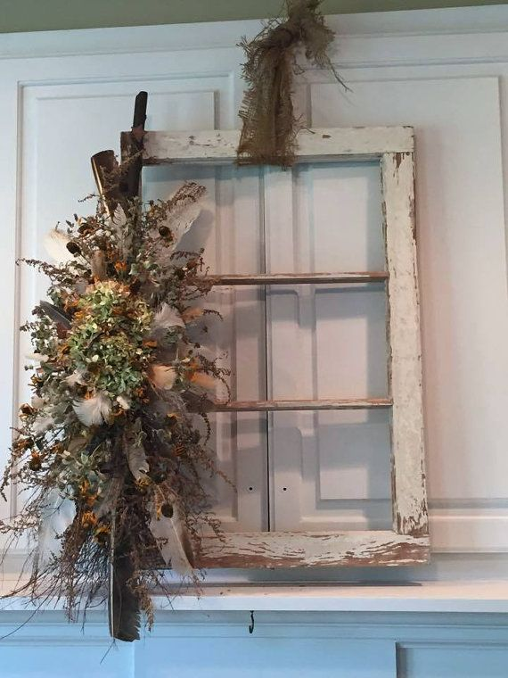 Old window frame salvage farmhouse style window white for How to use an old window as a picture frame