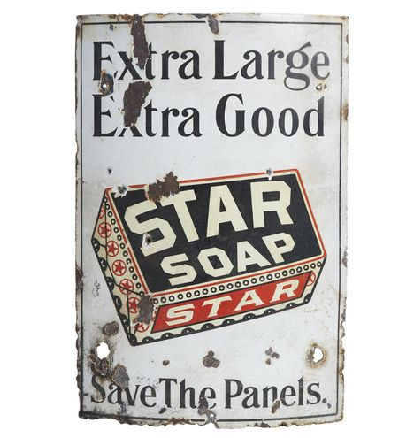 Well-Worn Star Soap Curved Porcelain Sign