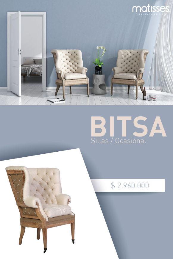 Bitsa es una silla ocasional en madera tapizada en tela color beige; su diseño inspirado en el estilo vintage cuenta con detalles en el tapizado tipo capitoné.