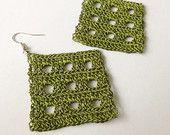 Crochet Diamond Shape Earrings in Green Colour