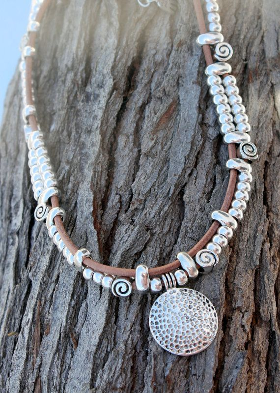 leather necklace with silver plated elements