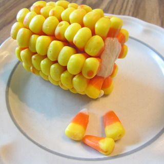 This is brilliant. Candy corn on the cob with cookie dough.