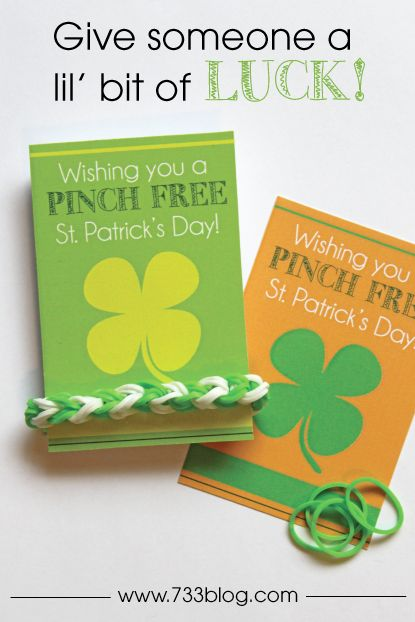 Rainbow Loom Bracelet Friend Cards for St. Patrick's Day Pinch Free Luck! | 733blog