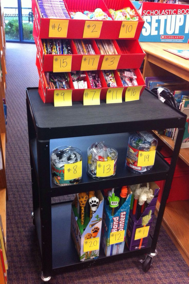 Book fair organization for pencils, pens, erasers, etc.