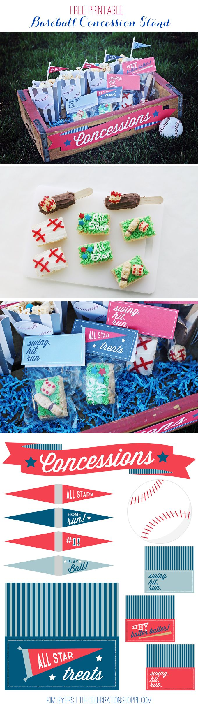 All Star Baseball Party Free Printables | Cute Concessions Stand Ideas - Kim Byers