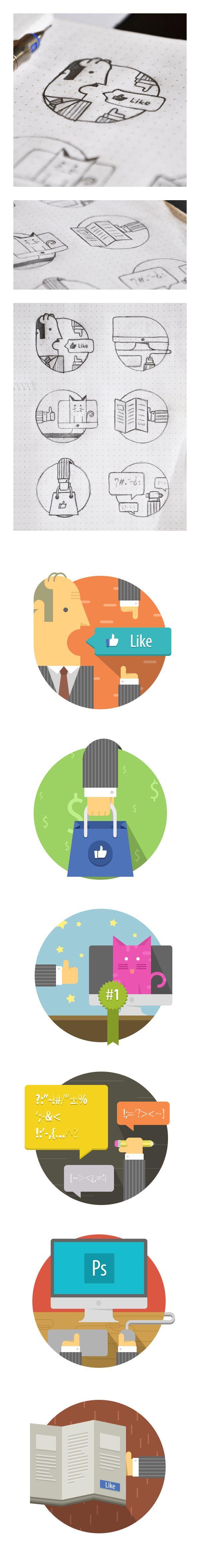 6 social marketing sins by Studio4 , via Behance