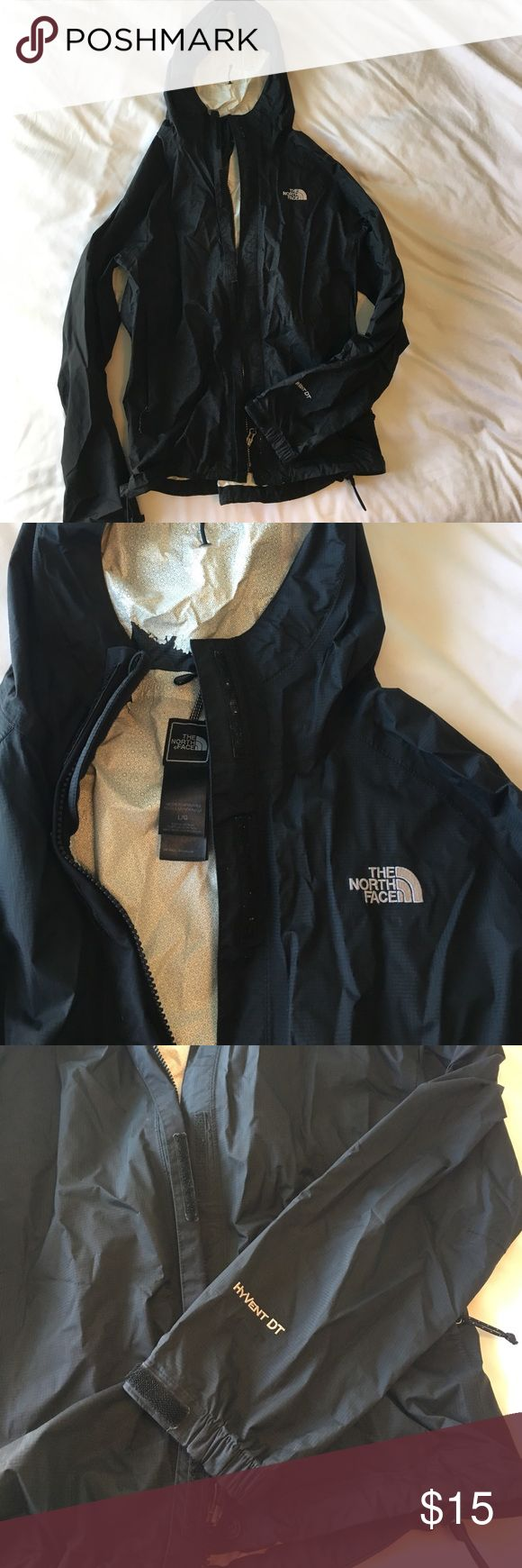 North face rain jacket, size large Black North Face rain jacket. Lots of wear, fair condition. White lining peeling around collar and at the end of sleeves, still water proof. Size large The North Face Jackets & Coats
