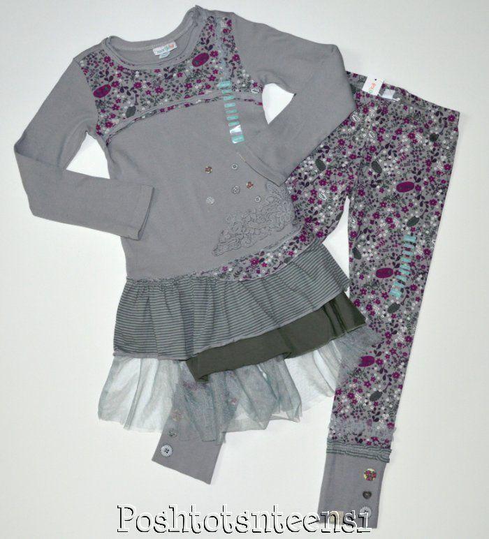 Naartjie Immi Bobbin Floral Netting Trimmed Dress Leggings Set 7 NWT NEW sl1-6 #Naartjie