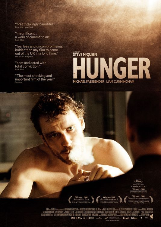 Hunger-Directed by English director Steve McQueen. With Mchael Fassbender, Lucy Walters, James Badge Dale, Carey Mulligan.@