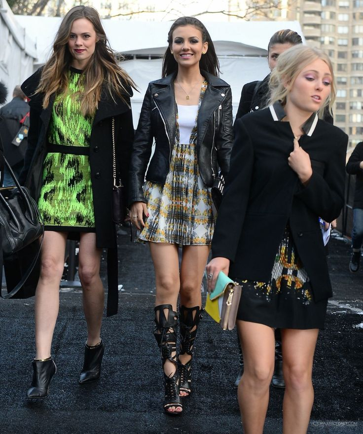 Victoria Justice – Wind Blows Skirt Up Leaving Rebecca Minkoff Fashion Show – February 2014