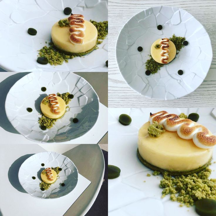Special of the day dessert at apocalypsis  Yuzu tart! Yuzu and lime curd,matcha shortbread,nappage yuzu,italian meringue,matcha agar agar