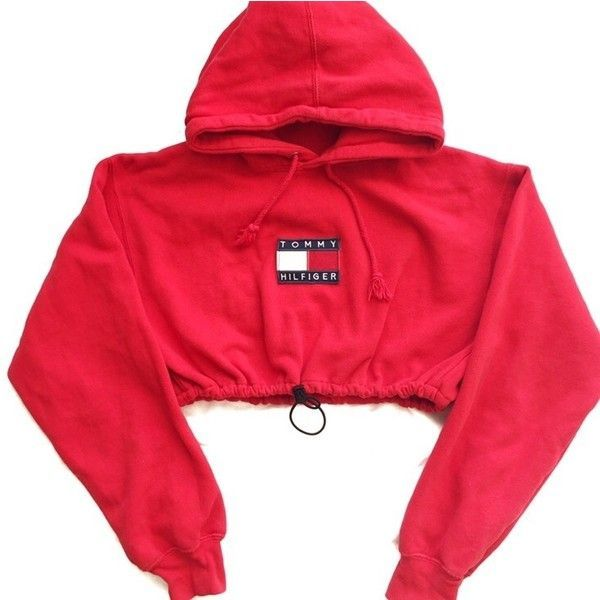Reworked Tommy Flag Crop Hoody Red (935 MXN) ❤ l…
