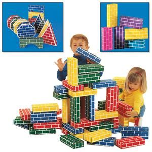 Cardboard bricks - these were the BEST toy my kids ever had.  They played with them for years and when we finally gave them away, most of them were still intact and in great shape.  And my boys were rough on them!  From Lillian Vernon - $14.98 for a set of 24 bricks.