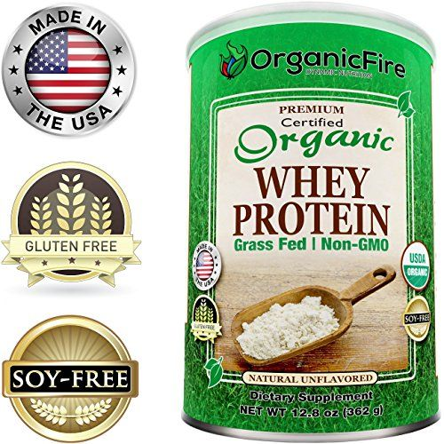 OrganicFire Best 100% Pure Organic Whey Protein Powder - Gluten Free NON GMO Grass Fed NO SUGAR - BCAA - Pre Post Workout - Build Lean Muscle Mass for Men - Natural Weight Loss for Women - Guaranteed >>> Click image for more details.