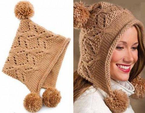 зимняя вязаная шапка-капюшон для больших и маленьких девочек