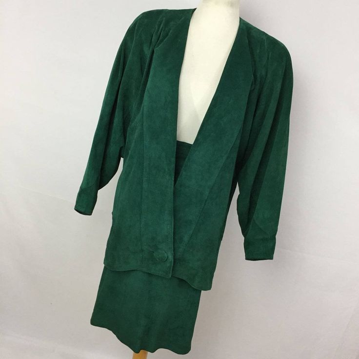 Vintage Leathercraft Process Green Leather Jacket Skirt Suit Set Womens size 4 80s 90s Fashion Y2 by AmazingTasteVintage on Etsy