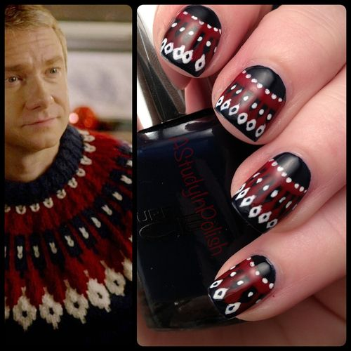 sherlocknyc:    bbcsherlockpickuplines:    astudyinpolish:    Christmas sweater nails inspired by John Watson. That jumper is faaabulooous~    Reblogging for Christmas because this is the greatest thing ever.    While we are all on holiday for Christmas, we just want to wish you and yours a Happy Holiday season.  Here, have jumper nails.