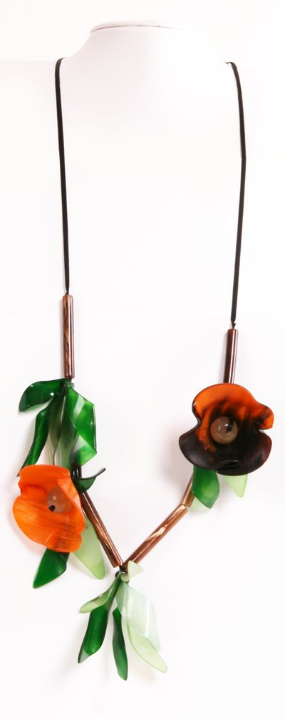 Marni Resin Flower Necklace - Black ribbon with resin flowers and leaves.