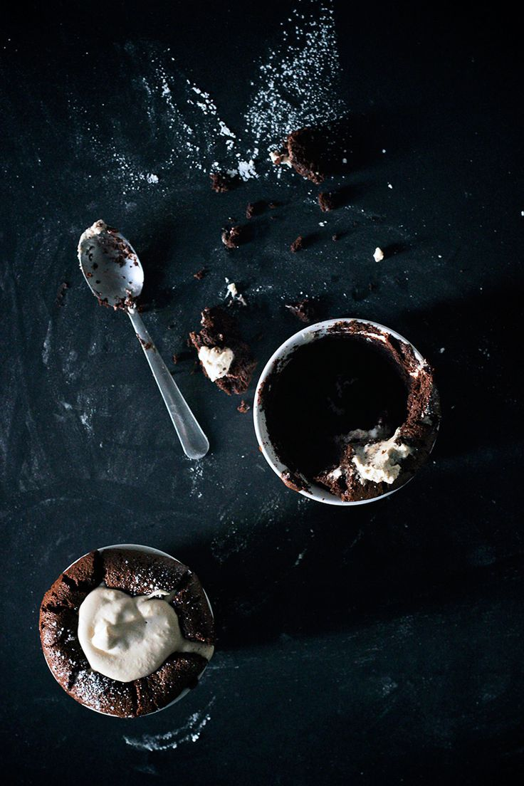 Flourless Dark Chocolate Souffle with Earl Grey Cream