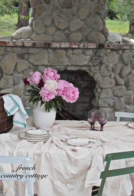 FRENCH COUNTRY COTTAGE: Outdoor Cottage Fireplace
